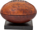 """Football Collectibles:Others, 1925 """"Pop"""" Warner, Knute Rockne and Tad Jones Signed Football Humidor...."""