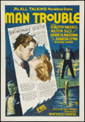 "Movie Posters:Romance, Man Trouble (Fox, 1930). One Sheet (27"" X 41""). Romance.. ..."