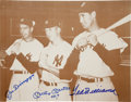 Autographs:Photos, Circa 1990 Joe DiMaggio, Mickey Mantle & Ted Williams SignedLarge Photograph....