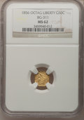 California Fractional Gold: , 1856 50C Liberty Octagonal 50 Cents, BG-311, Low R.4, MS62 NGC. NGCCensus: (9/5). PCGS Population (31/25). (#10436)...