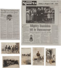 Baseball Collectibles:Photos, 1934 Baseball Tour of Japan Real Photo Postcards Lot of 5, OneSigned by Moe Berg....