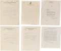 "Autographs:Letters, 1919-21 Typed Signed Letters to John ""Dots"" Miller Lot of 6,Including Branch Rickey...."