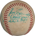 Autographs:Baseballs, Circa 1950 Hall of Famers Multi-Signed Baseball with Traynor,Dean....