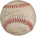 Autographs:Baseballs, 1949 Cleveland Indians Team Signed Baseball with Mel Ott....