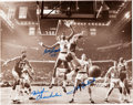 Basketball Collectibles:Photos, Circa 1990 Bill Russell, John Havlicek and Wilt Chamberlain MultiSigned Photograph....