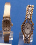 Timepieces:Wristwatch, Two 14k Gold Ladies Bracelet Wristwatches Runners. ... (Total: 2Items)