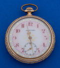 Timepieces:Pocket (post 1900), Rockford 16 Size 21 Jewel Pocahontas With Rare Fancy Enamel Dial Pocket Watch. ...