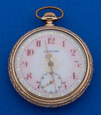 Rockford 16 Size 21 Jewel Pocahontas With Rare Fancy Enamel Dial Pocket Watch