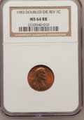 Lincoln Cents, 1983 1C Double Die Reverse MS64 Red and Brown NGC. NGC Census:(35/29). PCGS Population (4/1). Mintage: 7,699,999,744. Numi...