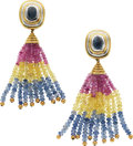 Estate Jewelry:Earrings, Sapphire, Gold Earrings, Pacetti. ...