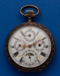 Timepieces:Pocket (post 1900), Swiss Moon Face Calendar Unmarked Silver Case Pocket Watch. ...