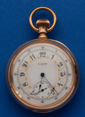 Timepieces:Pocket (post 1900), Elgin Convertible Heavy 14k Gold Case With Fancy Dial Pocket Watch....