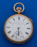 Timepieces:Pocket (post 1900), James Jay London 50 mm 18k Gold Open Face Side Lever Pocket Watch....