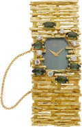 Estate Jewelry:Watches, Moviga Lady's Diamond, Tourmaline, Malachite, Gold IntegralBracelet Wristwatch, circa 1980. ...
