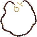 Estate Jewelry:Necklaces, Garnet, Diamond, Gold Necklace. ...