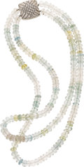 Estate Jewelry:Necklaces, Beryl Bead, Diamond, White Gold Necklace, Pacetti. ...