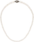 Estate Jewelry:Necklaces, Diamond, Moonstone, White Gold Necklace. ...