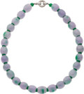 Estate Jewelry:Necklaces, Lavender Jade, Green Jade, White Gold Necklace. ...