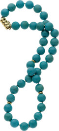 Estate Jewelry:Necklaces, Turquoise, Gold Bead Necklace. ...