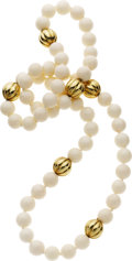 Estate Jewelry:Necklaces, White Jade, Gold Necklace. ...