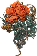Estate Jewelry:Brooches - Pins, Coral, Brass, Sterling Silver Brooch, Stephen Dweck. ...
