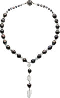 Estate Jewelry:Necklaces, Black Cultured Pearl, Aquamarine, Silver Necklace. ...