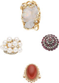 Estate Jewelry:Lots, Coral, Opal Cameo, Cultured Pearl, Ruby, Diamond, Gold Rings. ...