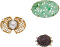 Estate Jewelry:Lots, Mabe Pearl, Cultured Pearl, Diamond, Ruby, Jade, Gold Jewelry. ...
