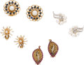 Estate Jewelry:Lots, Cultured Pearl, Sapphire, Ruby, Diamond, Gold Earrings. ...