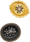 Estate Jewelry:Lots, Victorian Black Onyx, Diamond, Cultured Pearl, Enamel, Gold Pendant-Brooches. ...