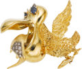 Estate Jewelry:Brooches - Pins, Diamond, Sapphire, Gold Brooch, Montclair. ...