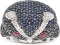 Estate Jewelry:Rings, Sapphire, Ruby, Diamond, White Gold Ring. ...