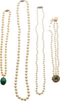 Estate Jewelry:Lots, Cultured Pearl, Jade, Silver, Gold Jewelry. ... (Total: 4 Items)