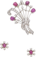 Estate Jewelry:Brooches - Pins, Ruby, Diamond, Platinum, White Gold Jewelry Suite. ...