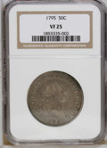 Early Half Dollars: , 1795 50C 2 Leaves VF25 NGC. O-131, High R.4. This deep golden-brownand cream-gray Flowing Hair half has pleasing sharpness...