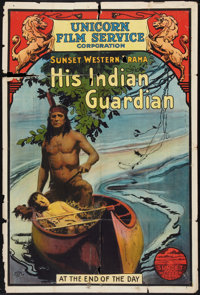 "His Indian Guardian (Unicorn Film Service, 1916). One Sheet (27"" X 41""). Western"