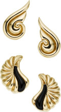 Estate Jewelry:Lots, Black Onyx, Gold Earrings. ...