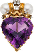 Estate Jewelry:Brooches - Pins, Amethyst, Cultured Pearl, Diamond, Gold Pendant-Brooch. ...