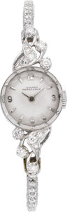 Estate Jewelry:Watches, Girard Perregaux Lady's Diamond, Platinum Wristwatch, circa 1950....