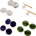 Estate Jewelry:Lots, Jade, Cultured Pearl, Enamel, Platinum, Gold Cuff Links. ... (Total: 4 Items)