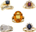 Estate Jewelry:Lots, Sapphire, Ruby, Citrine, Diamond, Gold Rings. ... (Total: 5 Items)
