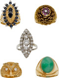 Estate Jewelry:Lots, Diamond, Ruby, Sapphire, Jade, Gold Rings. ...