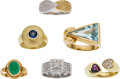 Estate Jewelry:Lots, Diamond, Colored Diamond, Amethyst, Jade, Sapphire, Blue Topaz, Gold Rings. ...