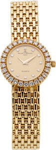 Estate Jewelry:Watches, Baume & Mercier Lady's Diamond, Gold Integral BraceletWristwatch, circa 1990. ...