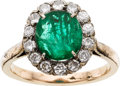 Estate Jewelry:Rings, Emerald, Diamond, Silver-Topped Gold Ring. ...