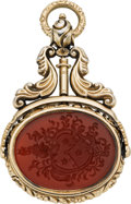 Estate Jewelry:Pendants and Lockets, Victorian Carnelian, Silver Vermeil Watch Fob. ...
