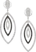 Estate Jewelry:Earrings, Diamond, Colored Diamond, White Gold Earrings, Eli Frei. ...