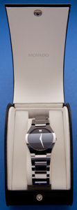 Timepieces:Wristwatch, Movado Gents Steel Museum Wristwatch With Box & Papers. ...