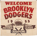 Baseball Collectibles:Others, 1955 Brooklyn Dodgers National League Championship Banner....