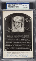 Autographs:Post Cards, 1956-63 Elmer Flick Signed Black & White Hall of Fame PlaquePSA NM-MT 8....